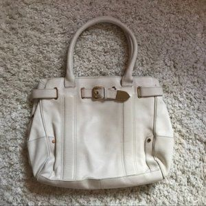Charles David White & Gold Leather Tote Bag